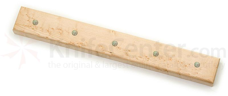 Maple Wood Magnetic Kitchen Knife Holder for 5 Knives, Mother of Pearl Inlays