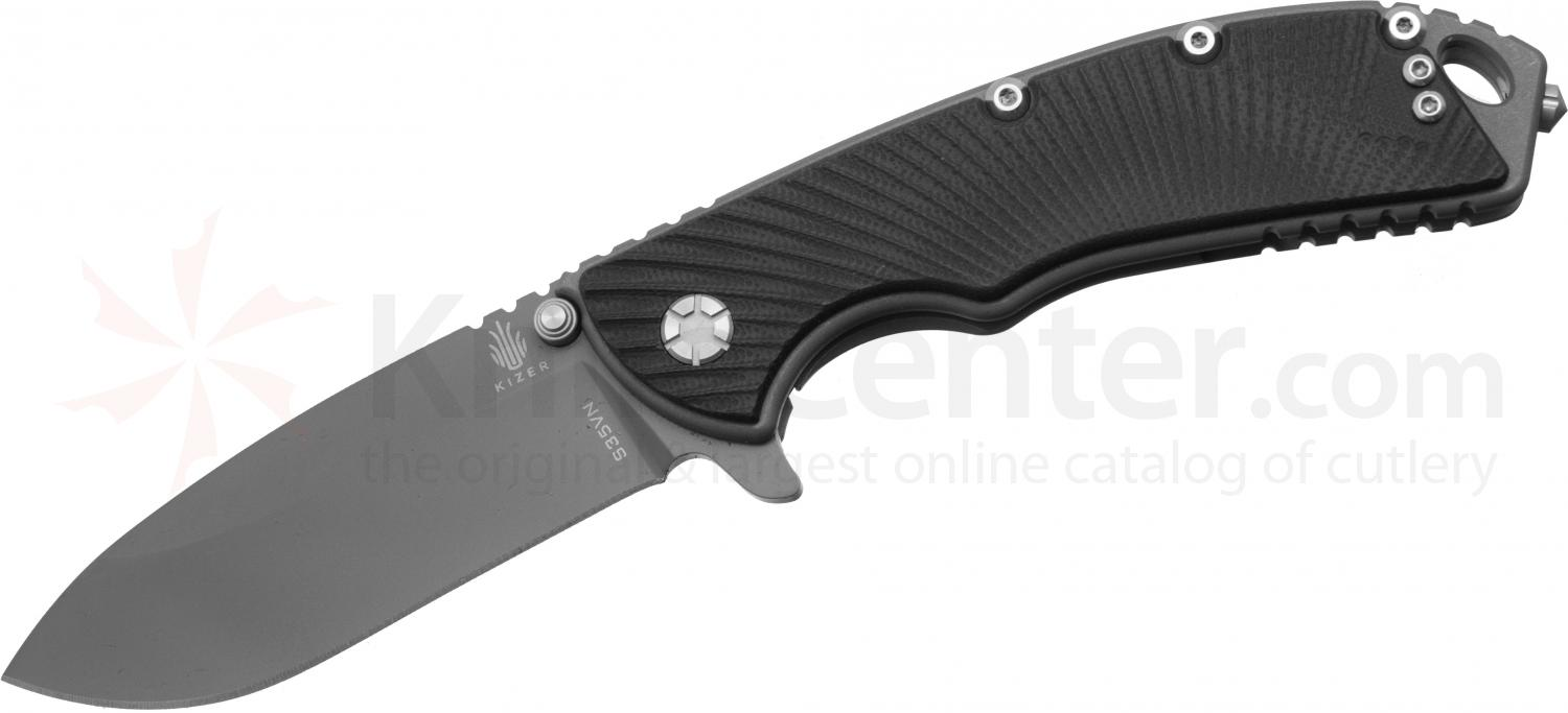 Kizer Cutlery Ki4448 GTi Gingrich Design Assisted Flipper 3 inch S35VN Gray Blade, Milled Black G10 Handles
