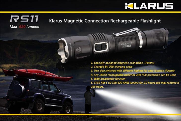 Klarus RS11 Rechargeable LED 1x18650 Flashlight, Military Grey Body, 620 Max Lumens