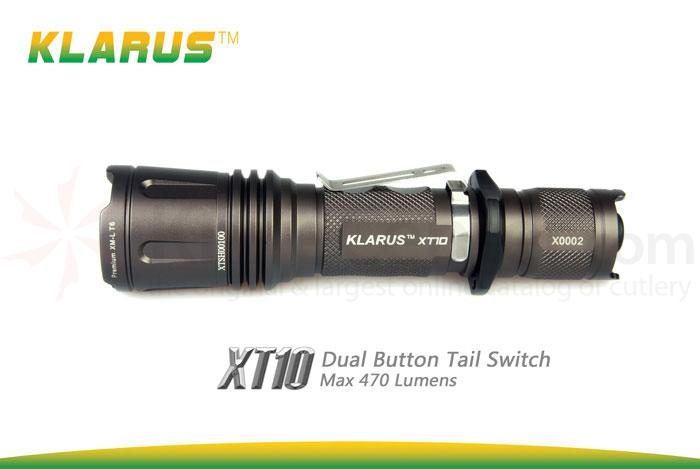 Klarus XT10 Tactical LED 2xCR123A Flashlight, Military Gray Body, 470 Max Lumens