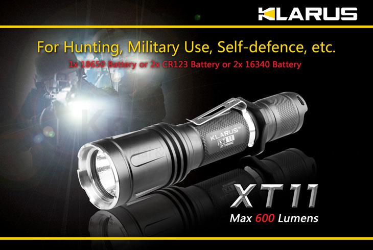 Klarus XT11 Tactical LED 2xCR123A Flashlight, Military Grey Body, 600 Max Lumens