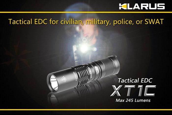Klarus XT1C Tactical EDC LED CR123A Flashlight, Military Gray Body, 245 Max Lumens