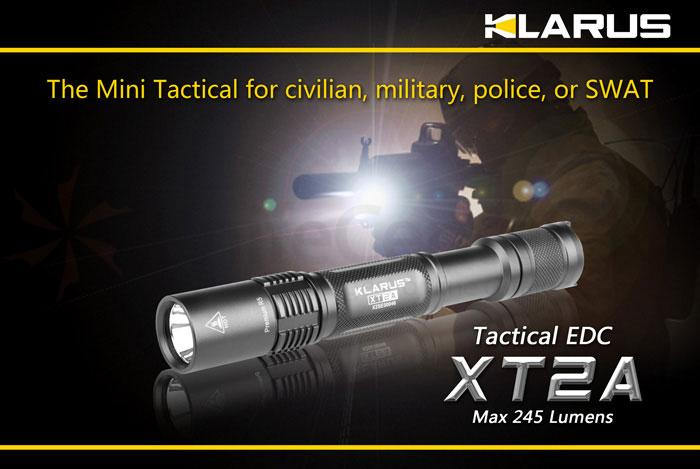 Klarus XT2A Tactical EDC LED 2xAA Flashlight, Military Gray Body, 245 Max Lumens