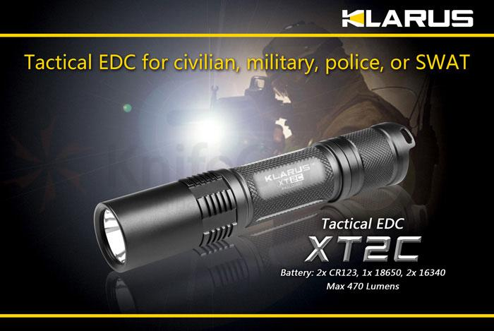 Klarus XT2C Tactical EDC LED 2xCR123A Flashlight, Military Grey Body, 470 Max Lumens