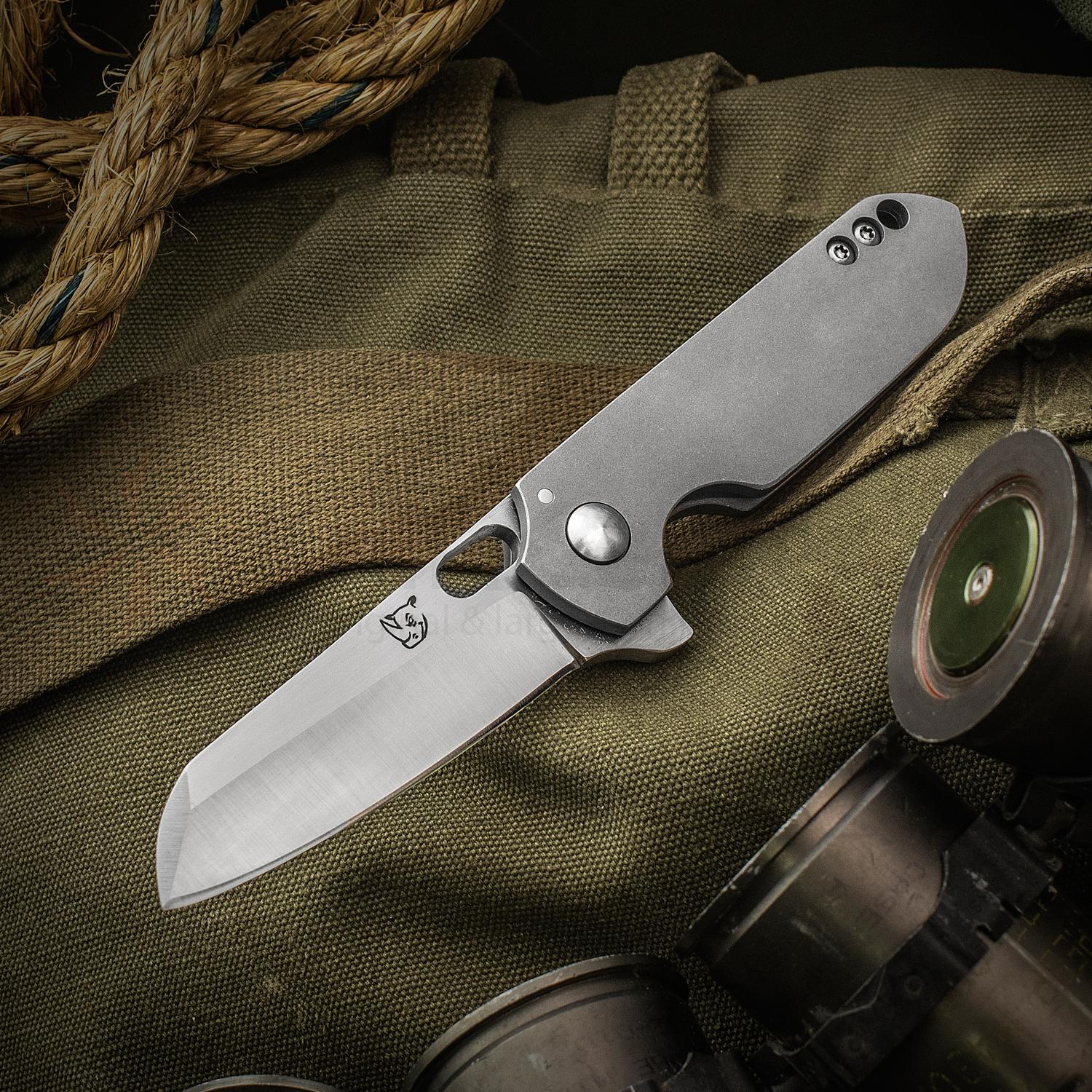 KM Designs Custom Drei Konig Flipper 3 inch CPM-154 Satin Blade, Blasted Titanium Handles, Mokuti Clip and Spacer