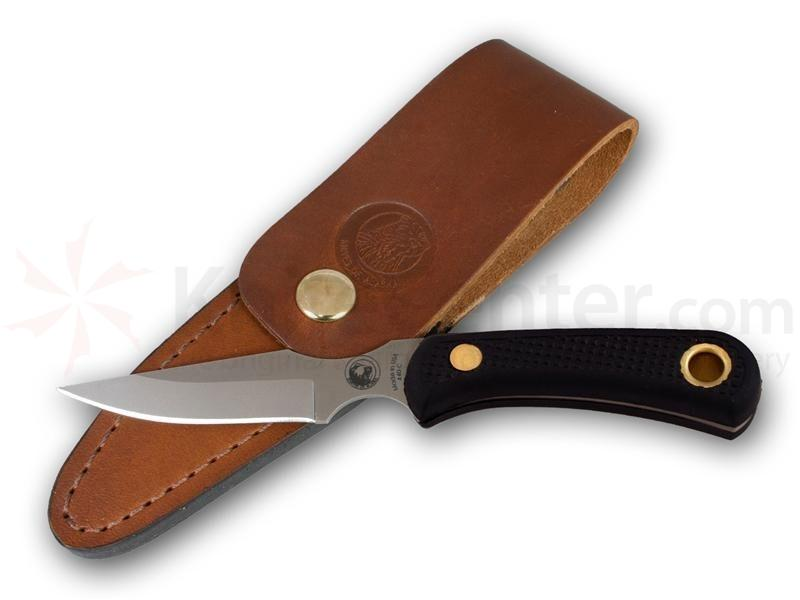 Knives of Alaska Cub Bear Caping Knife Fixed 3.375 inch D2 Bead Blast Blade, Black Santoprene SureGrip Handles, Brown Leather Sheath