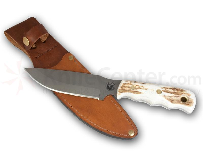 Knives of Alaska Bush Camp Knife Fixed 6 inch D2 Bead Blast Blade, Stag Handles, Brown Leather Sheath