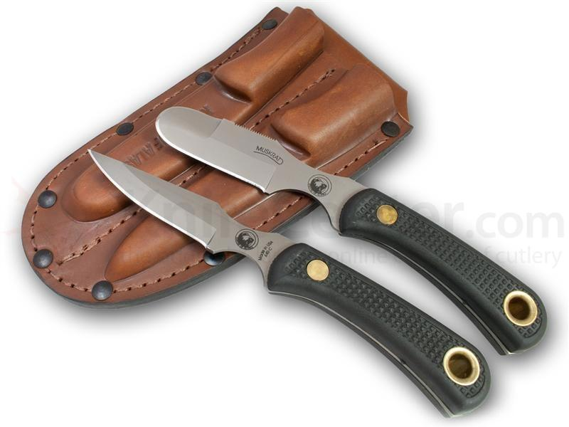 Knives of Alaska Muskrat/Cub Bear Combo Set, Black Santoprene SureGrip Handles, Brown Leather Sheath