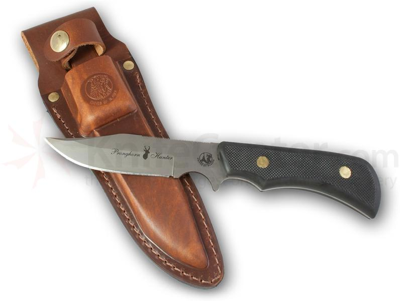 Knives of Alaska Trekker Pronghorn Hunter Fixed 4.25 inch D2 Bead Blast Blade, Black Santoprene SureGrip Handles, Brown Leather Sheath