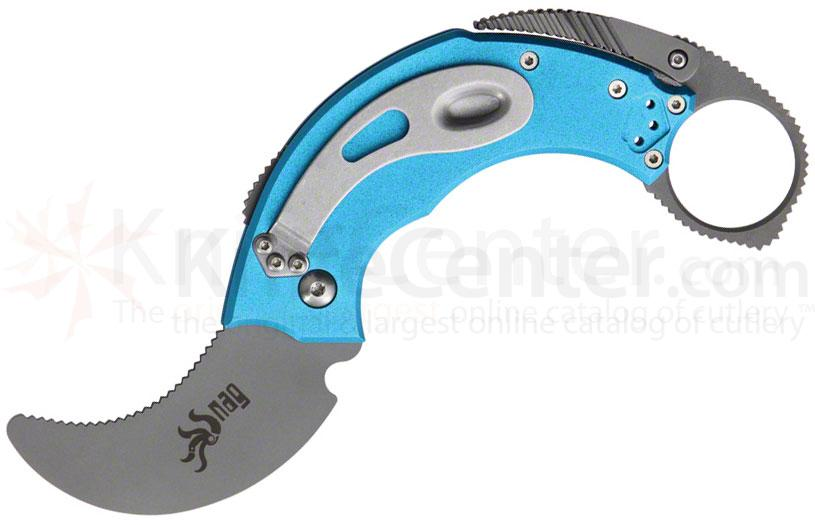 Krudo Knives SNAG Folder Self Defense Tool 2-1/2 inch Unsharpened Blade, Blue Aluminum Handles