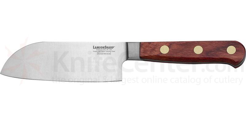 LamsonSharp USA 5 inch Rosewood Forged Santoku Knife - Plain Edge