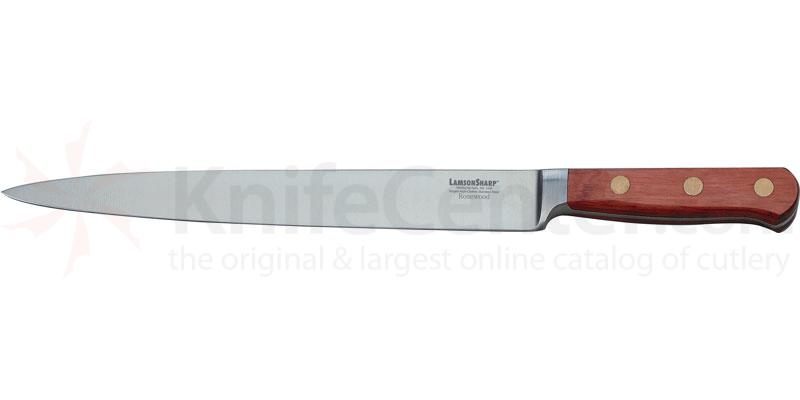 LamsonSharp USA 10 inch Rosewood Forged Slicing Knife - Plain Edge