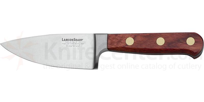 LamsonSharp USA 4 inch Rosewood Forged Wide Chef Knife - Plain Edge