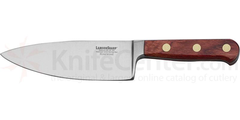 LamsonSharp USA 6 inch Rosewood Forged Wide Chef Knife - Plain Edge