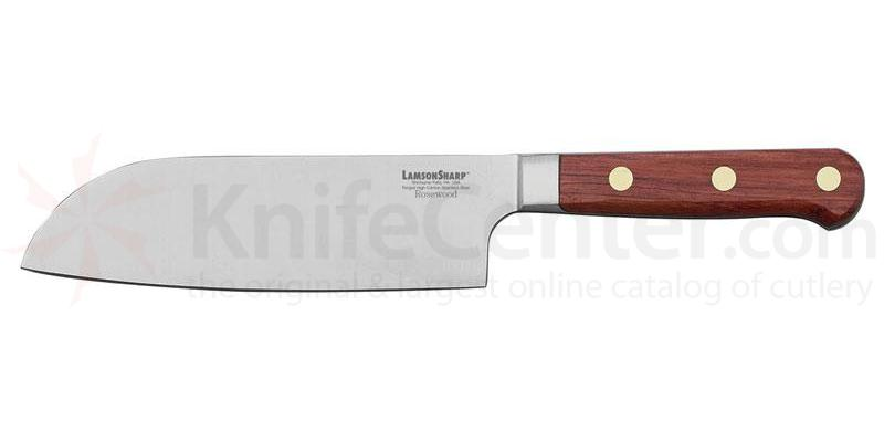 LamsonSharp USA 7 inch Rosewood Forged Santoku/Santuko Knife - Plain Edge