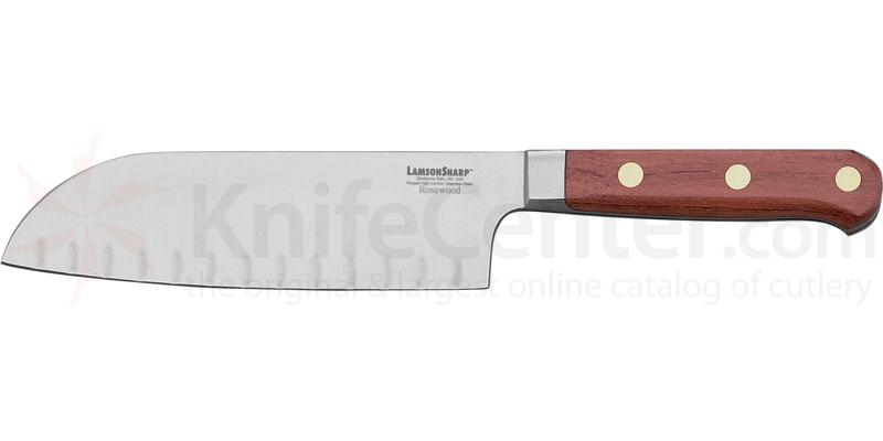 Lamson Sharp USA 7 inch Rosewood Forged Kullenschliff Santoku/Santuko Knife - Plain Edge