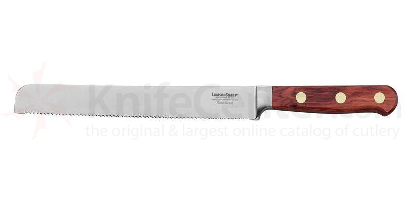 LamsonSharp USA 8 inch Rosewood Forged Bread Knife - Serrated Edge
