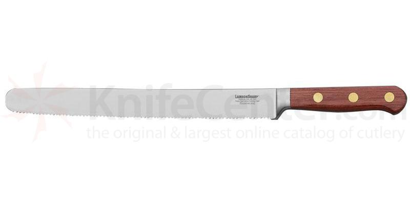LamsonSharp USA 10 inch Rosewood Forged Bread Knife - Serrated Edge