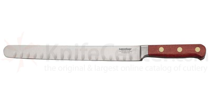 Lamson Sharp USA 10 inch Rosewood Forged Kullenschliff Roast Slicing Knife - Plain Edge