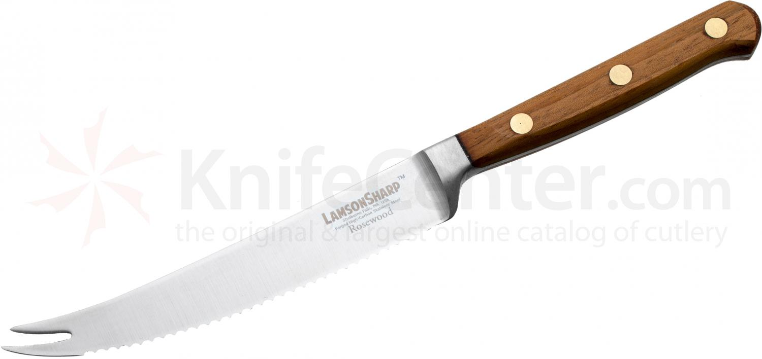 Lamson Sharp USA 5 inch Rosewood Forged Tomato Knife - Serrated Edge