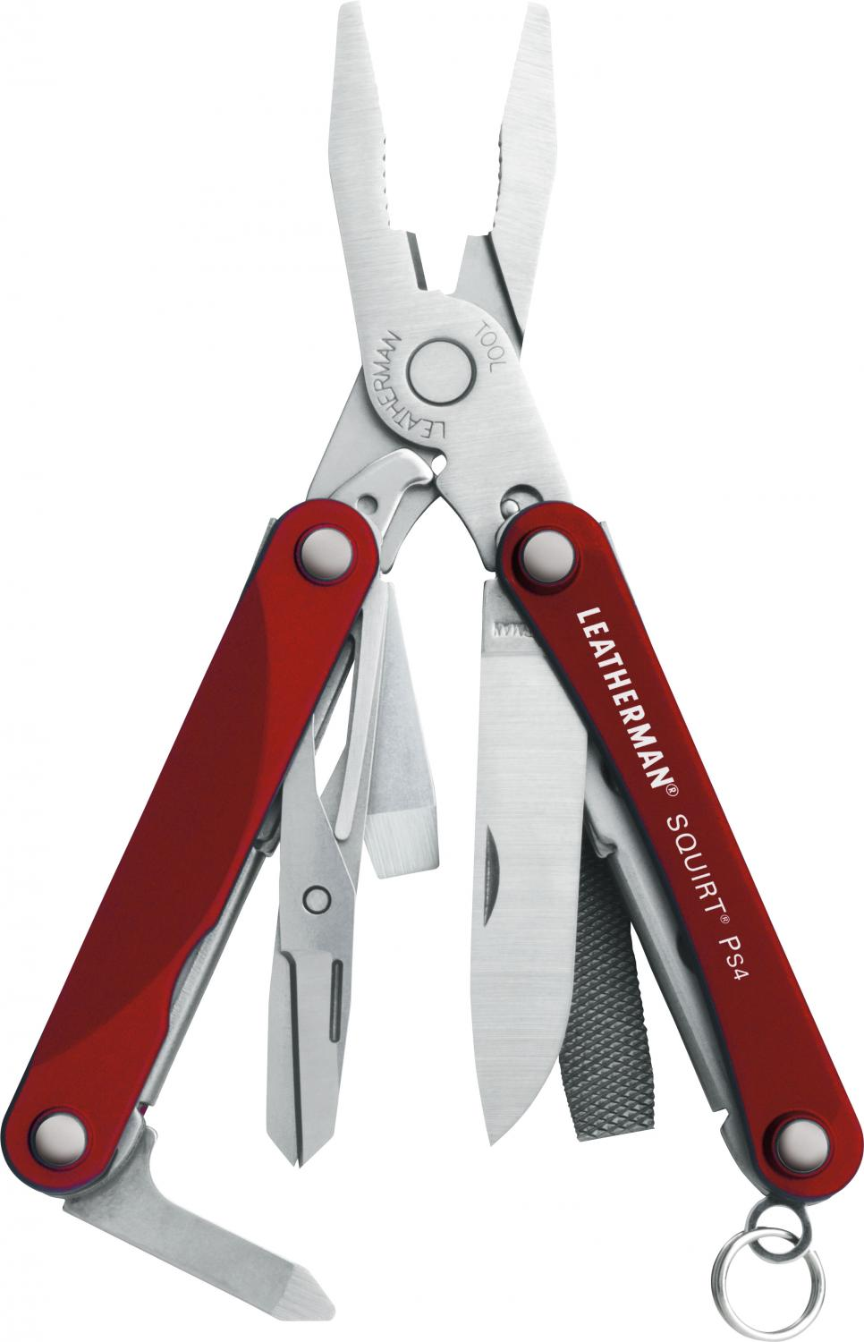 Leatherman Squirt PS4 Keychain Mini Multi-Tool, Red Aluminum Handles