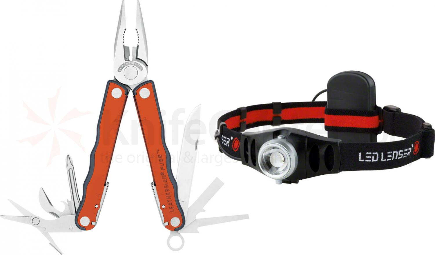 Leatherman Fuse Full-Size Orange Multi-Tool and LED Lenser H5, Nylon Sheath