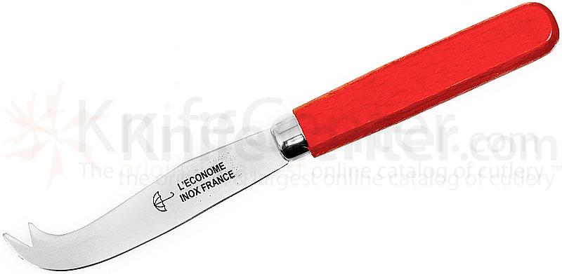 Therias & L'Econome French Made Cheese Knife 3.5 inch Blade, Red Wooden Handle