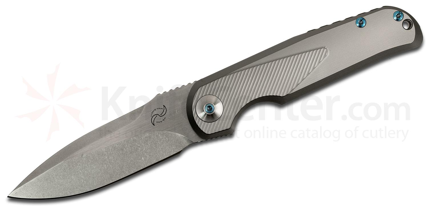 Liong Mah Designs SDC Slim Daily Carry V2 Flipper 3.625 inch S35VN Stonewashed Plain Blade, Milled Titanium Handles, Blue Hardware