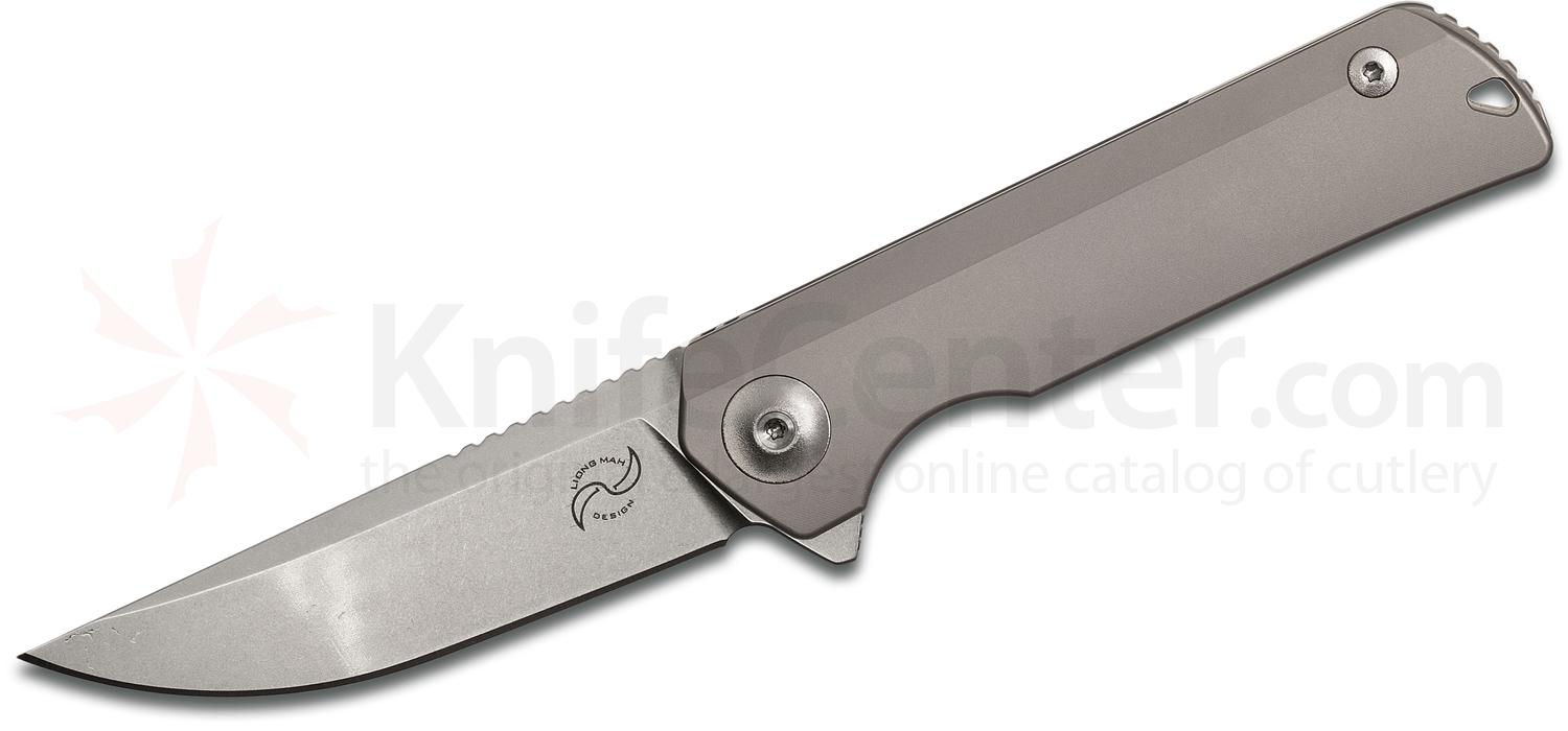 Liong Mah Designs Warrior One V2 Flipper 3.375 inch S35VN Stonewashed Blade, Milled Titanium Handles
