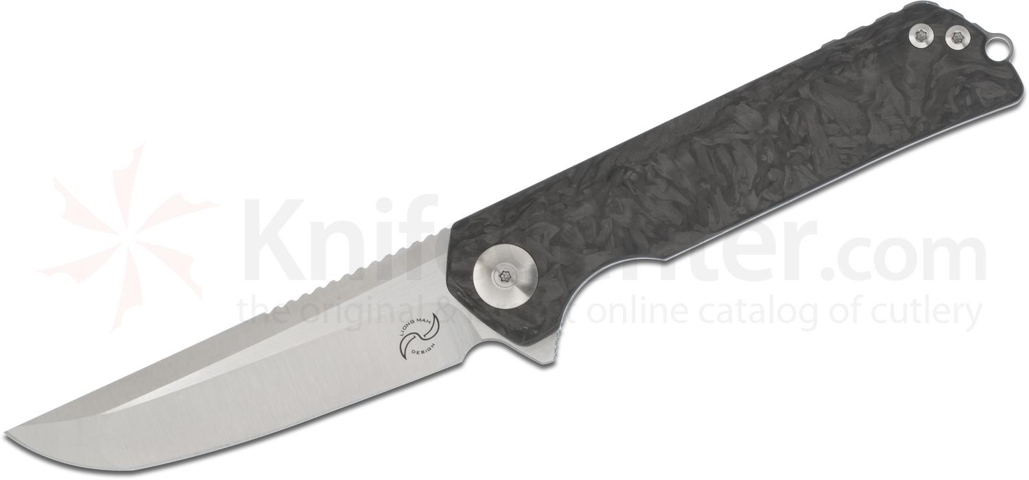 Liong Mah Designs Warrior 2 Flipper 3.75 inch S35VN Hand Ground Blade, Marble Carbon Fiber and Titanium Handles