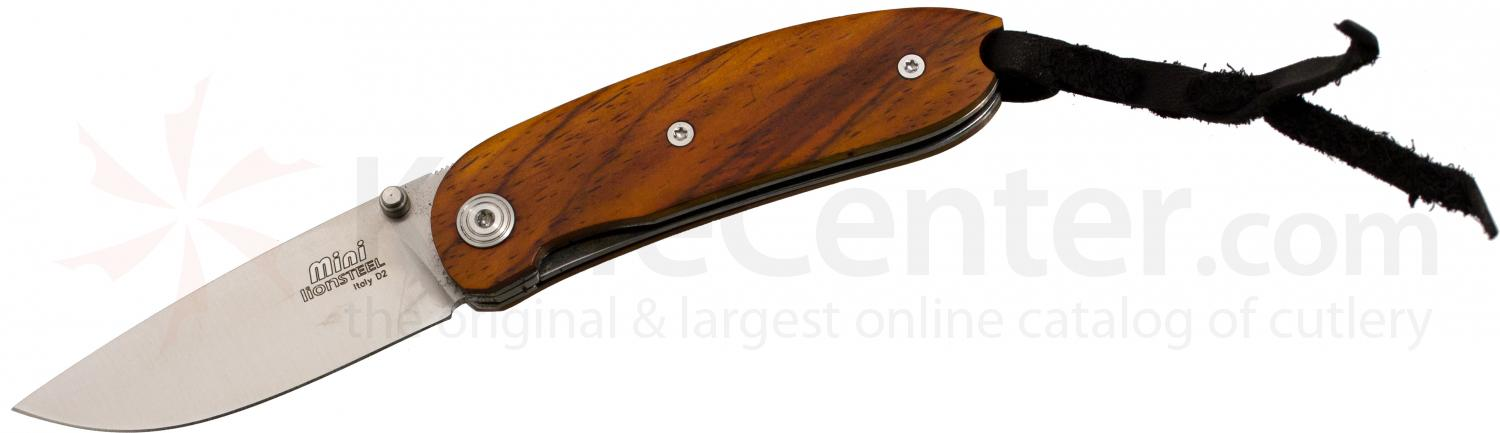 LionSteel 8210 CB Mini Folding 2.36 inch Satin D2 Tool Steel Blade, Cocobolo Wood Handles, Leather Pouch