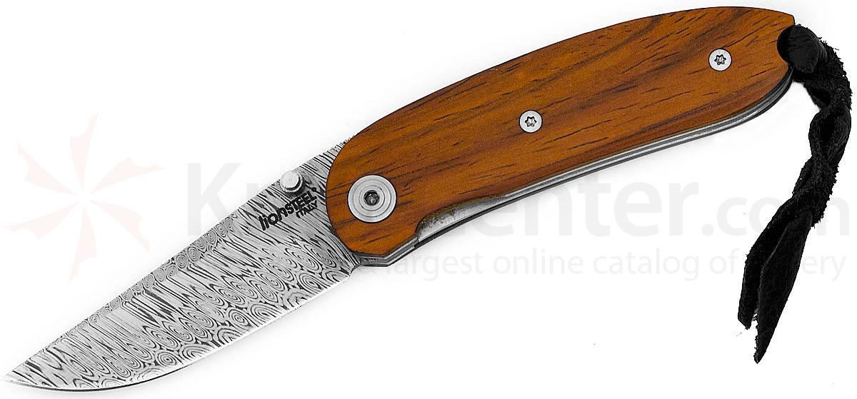 LionSteel 8210D CB Mini Folding 2.36 inch Stainless Damascus Blade, Cocobolo Wood Handles