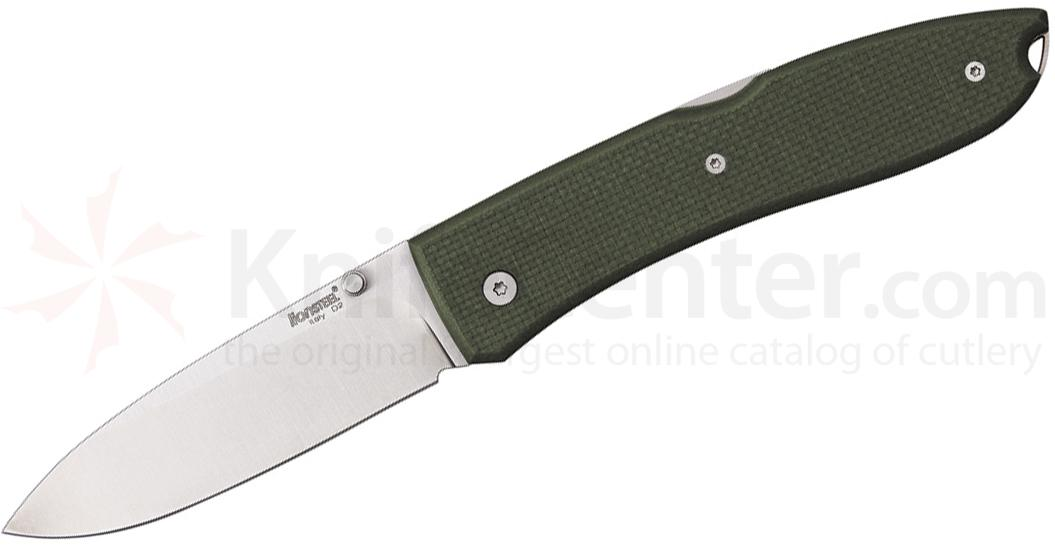 LionSteel 8810 GN Big Opera Folding 3.54 inch Satin D2 Tool Steel Blade, Green G10 Handles