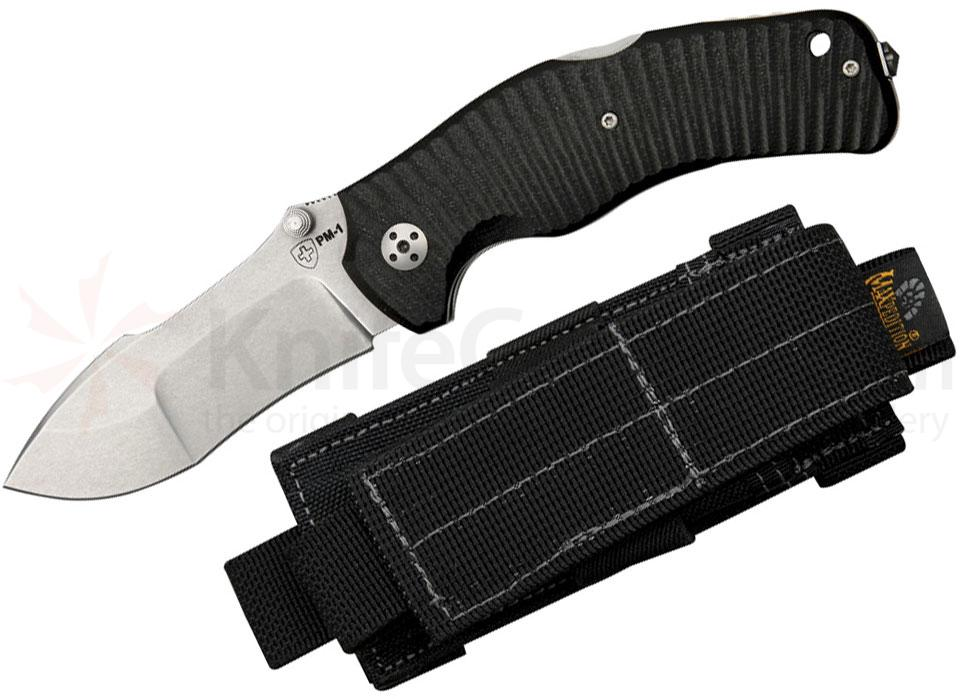 LionSteel PM-1 S Police Lockback 3-1/4 inch Stonewashed Sleipner Steel Blade, G10 Handles, Maxpedition Sheath