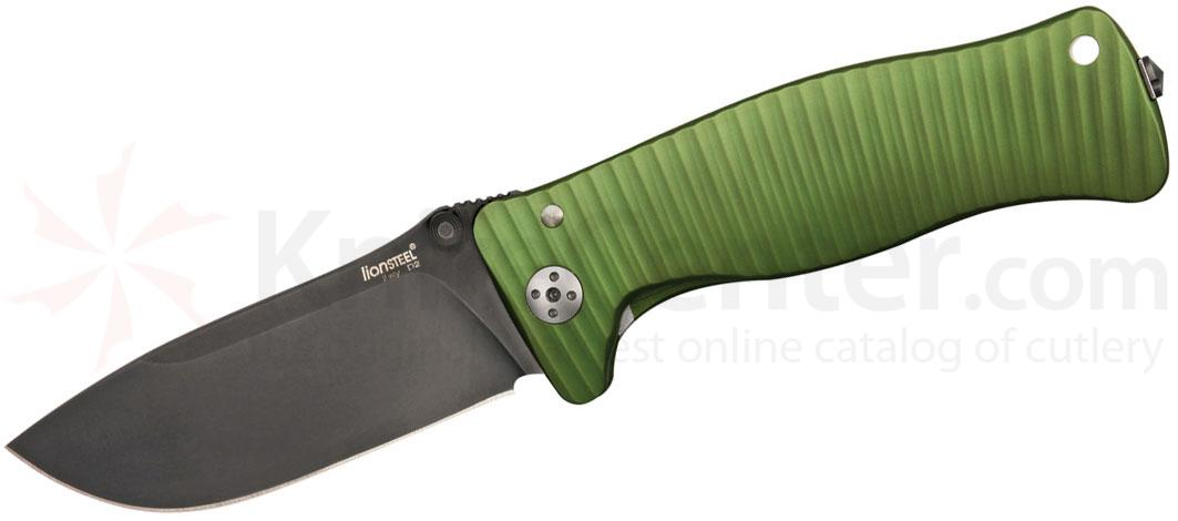 LionSteel SR-1A GB Folding 3.7 inch Black D2 Steel Blade, Green Aluminum Handle