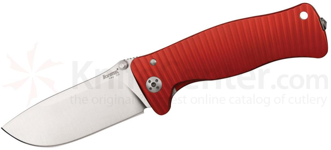 LionSteel SR-1A RS Folding 3.7 inch Satin D2 Steel Blade, Red Aluminum Handle