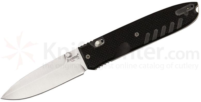 LionSteel 8700 G10 Daghetta Folding Knife 3.15 inch Satin D2 Blade, Black G10 Handles