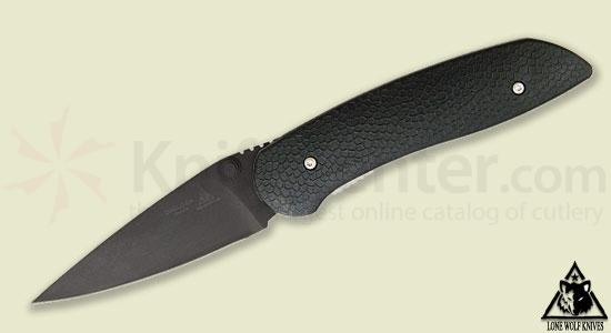 Lone Wolf Knives Diablo Double-Action AUTO 3.3 inch Black S30V Plain Blade, FRN Handles