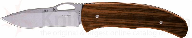 Lone Wolf Knives Lobo Double-Action AUTO 3.5 inch S30V Plain Edge, Desert Ironwood Handles