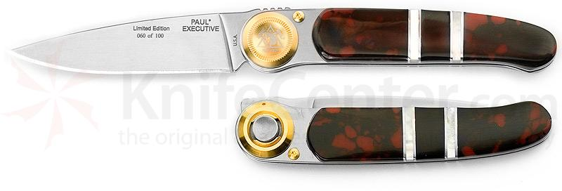 Lone Wolf Knives Paul Executive 2.5 inch Blade, Red Dawn Handles