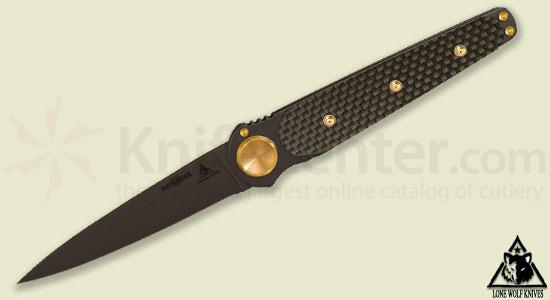 Lone Wolf Knives Paul Defender 3.9 inch Blade, 3D Carbon Fiber Handles