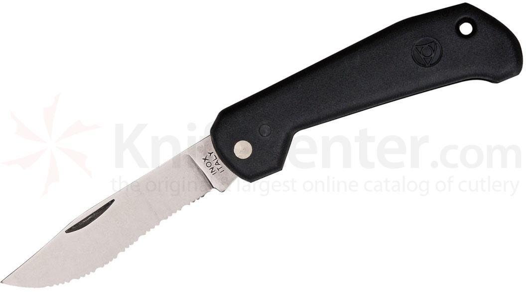Mac Coltellerie B91/1 Marine Slipjoint Folding Knife 3-1/4 inch Serrated Clip Blade, Black Handles