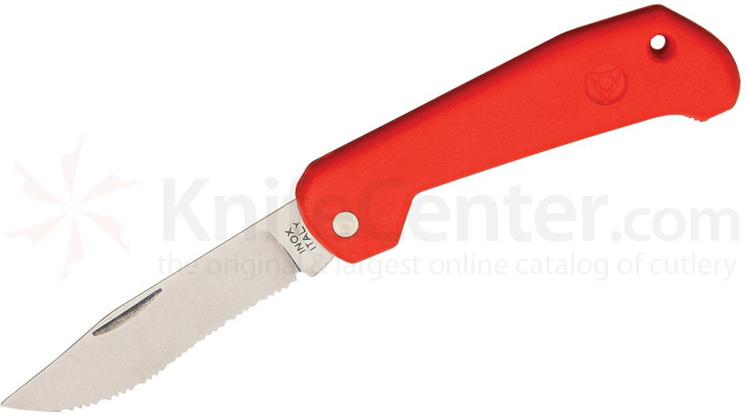 Mac Coltellerie B91/1R Marine Slipjoint Folding Knife 3-1/4 inch Serrated Clip Blade, Red Handles