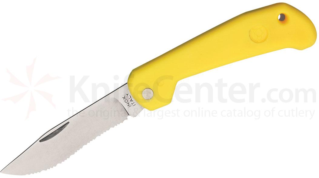 Mac Coltellerie B91/1Y Marine Slipjoint Folding Knife 3-1/4 inch Serrated Clip Blade, Yellow Handles
