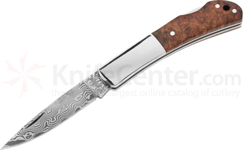 Boker Magnum King Lockback Folder 3 inch Damascus Blade and Wood Handle