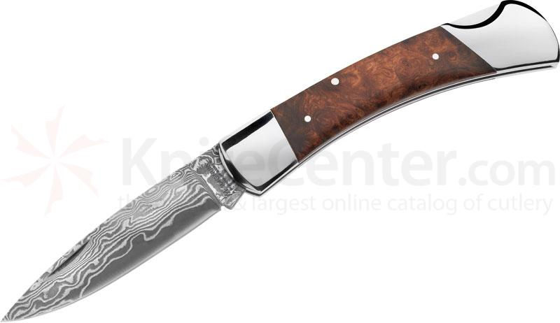 Boker Magnum Lord Lockback Folder 3-5/8 inch Damascus Blade and Wood Handle