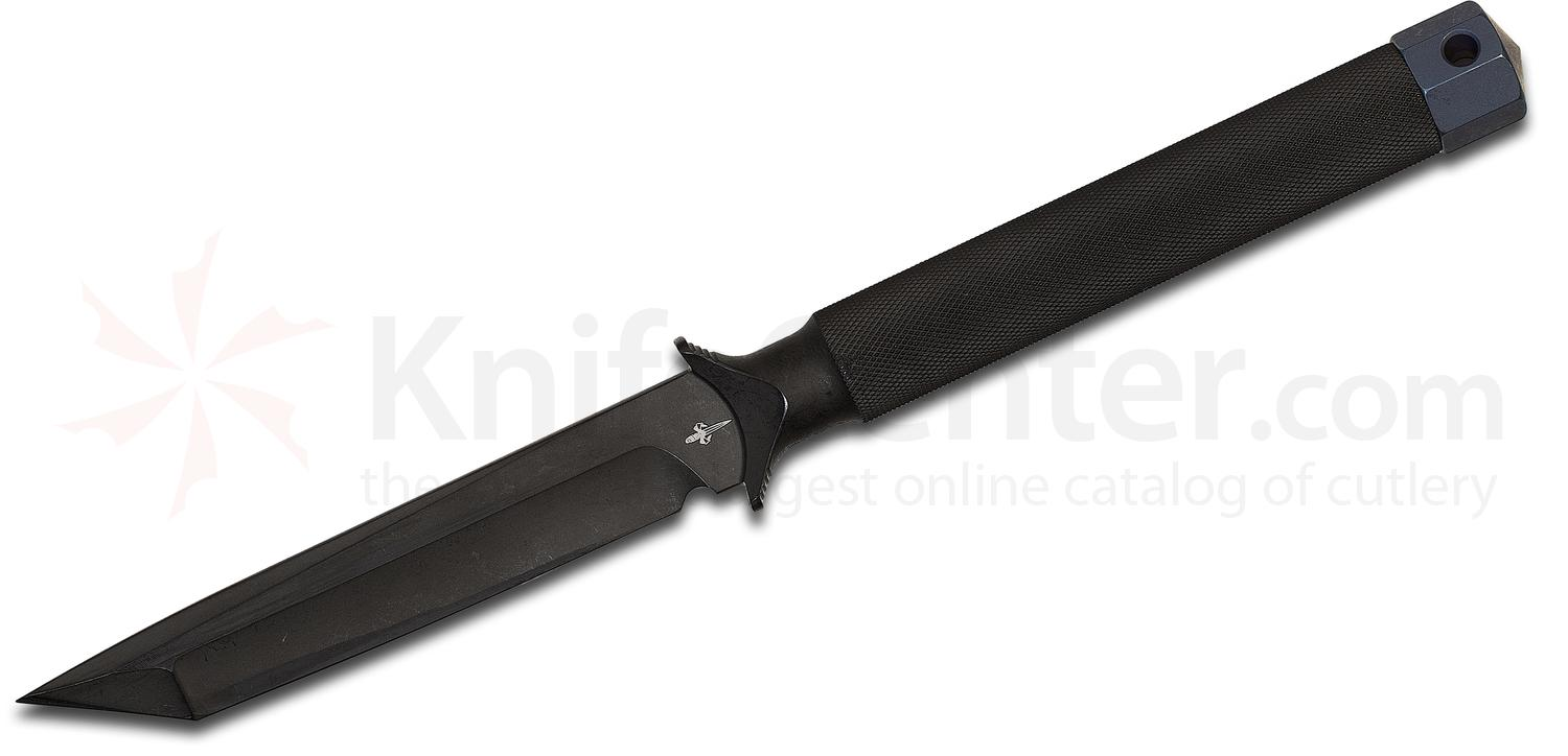 Marfione Custom Knives ADO Fixed 4 inch DLC Apocalyptic Tanto 154CM Blade and Hollow Handle, Leather Sheath
