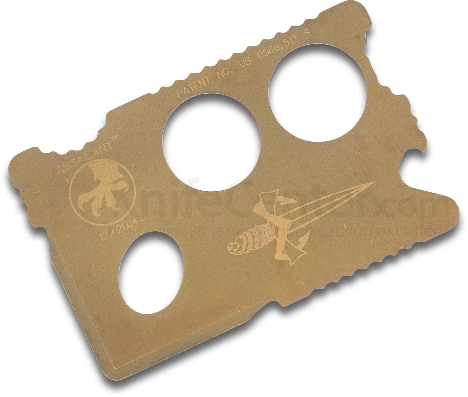 Marfione Custom Knives Assailant Titanium Credit Card Style Knife with Nylon Wallet, Apocalyptic Gold Grahamodized Finish