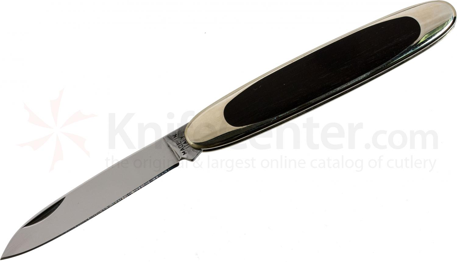 Maserin Temperini Line Classic Folding 2.56 inch Plain Pen Blade, Ebony Wood Scales