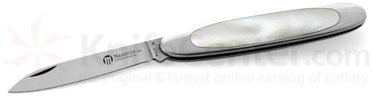 Maserin Temperini Line Classic Folding 2.56 inch Plain Pen Blade, Mother of Pearl Scales